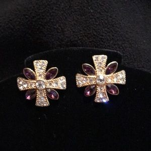 Jewelry - Gorgeous unique shaped amethyst & CZ earrings.